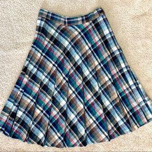 Vintage plaid pleated wool skirt 1980s midi preppy